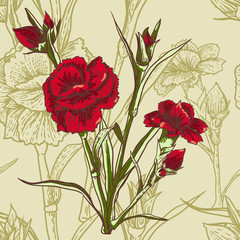 Canvas Prints Abstract Floral Seamless floral background with carnation