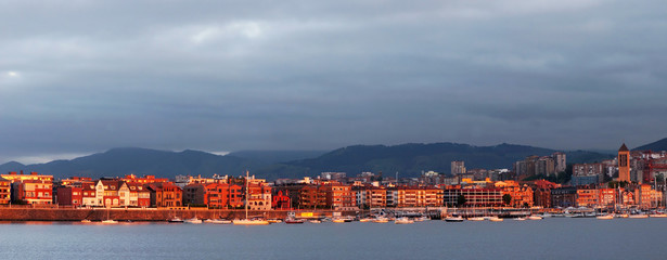 panorama of Getxo promenade at twilight
