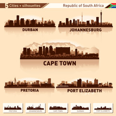 Wall Mural - City skyline set 5 silhouettes of South Africa