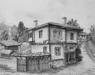 Drawing of Traditional Old Bulgarian House