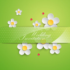 Background with paper daisy flowers. Vector illustration