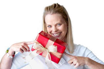 Young woman with Christmas present