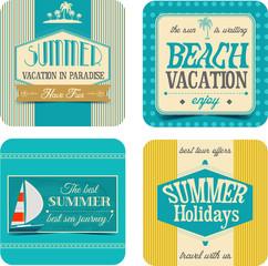 Summer travel vintage labels