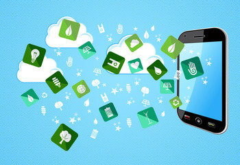 Smart Phone eco friendly icons
