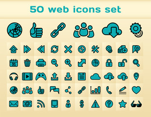 50 blue web icons set