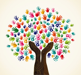 Colorful  solidarity design tree