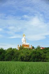 White Big Buddha statue in Thailand public