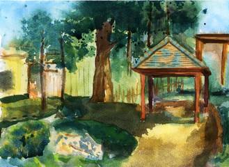 garden  illustration watercolor