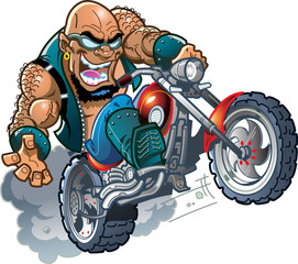 Poster Motorcycle Wild Bald Biker Dude