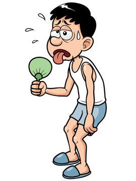 Vector illustration of Cartoon Man in Hot Weather
