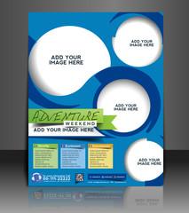Vector adventurer brochure, flyer, magazine cover