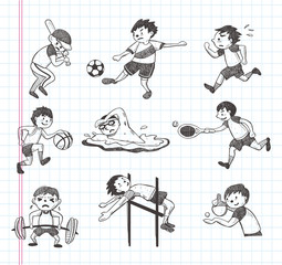 doodle sport player icons