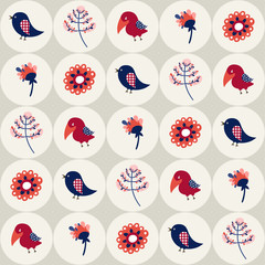 Seamless pattern with birds and flowers in circles