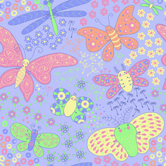 Seamless texture with butterflies and flowers