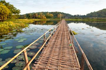 long wooden pier on morning lake