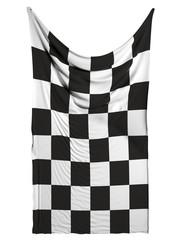 Finishing checkered flag on white background