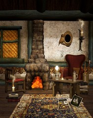 Winter chalet interior