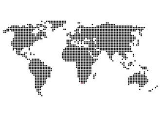 Pixelweltkarte mit Markierung von Kapstadt
