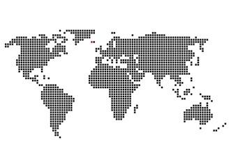 Weltkarte mit Markierung von Reykjavik