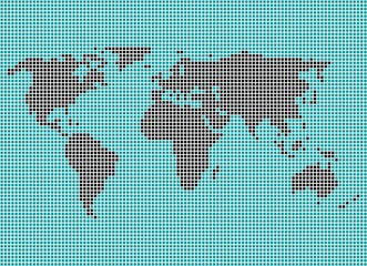 Weltkarte aus blauen und schwarzen Pixeln