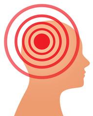 headache or migraine concept