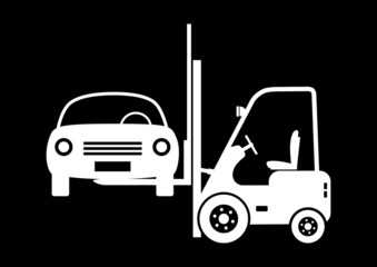 Forklift truck with car on black background