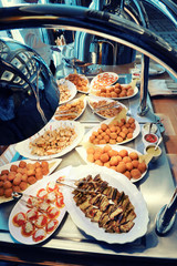 Warm buffet with an assortment of dishes