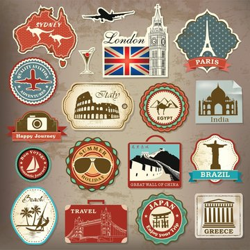 Collection of vintage retro vacation & travel labels and icons