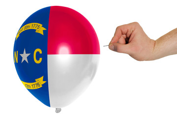 Bursting balloon colored in  flag of american state of north car