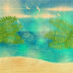 Beautiful vintage summer seaside illustration