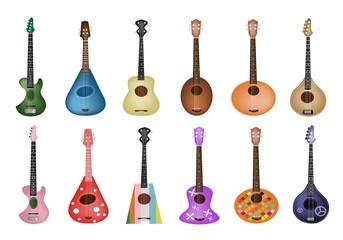 A Set of Beautiful Ukulele Guitars on White Background