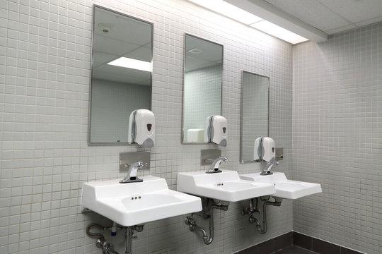 Clean new public toilet room empty