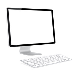 Computer display and keyboard