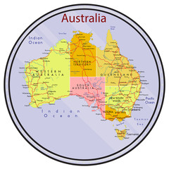 Map of Australia on the coin