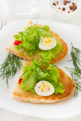 bread with eggs on the plate