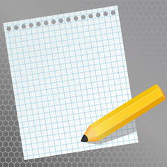 A piece of paper in a cage and a pencil, vector illustration
