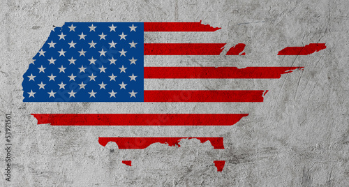 US map on dirty grunge cement background.\