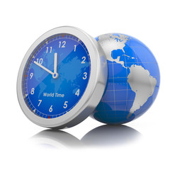 world time concept: gloube with clock
