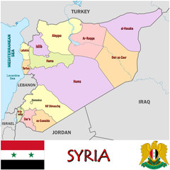 Syria Middle East national emblem map symbol motto