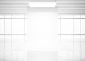 White backdrop in bright interior