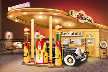 Oldtimer an Tankstelle