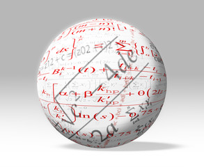 Mathematic formulas on 3D white globe - clipping path included