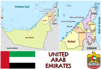 United Arab Emirates national emblem map symbol motto