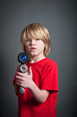 Boy with laser gun