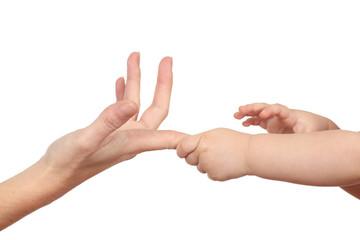 Baby hands grabbing her mother finger