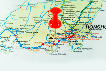 Thumbtack on Japan map