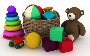 3d illustration of child's toys in a small basket