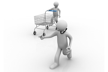 3d man pushing a shopping cart