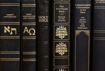 Detail of book covers - Holy Bible and concordance