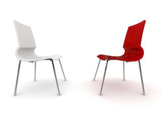 roter Stuhl mit weissem weißen Stuhl Rendering